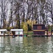 A Raft Houses Moored To The Shoreline Of Ada Medjica Islet Art Print