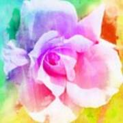A Rainbow Of A Rose Two Art Print by Cathie Tyler