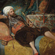 A Reclining Turk Smoking A Hookah, 1844 Art Print