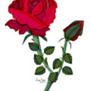 A Red Rose Blooms In Winter Art Print