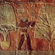 A Relief Of Men Carrying Myrrh Trees Art Print by Kenneth Garrett