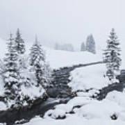 A River And Winter Landscape In Austria Art Print