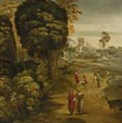 A River Landscape With Figures On A Country Road Art Print