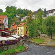 A Riverside Cafe Along The Vltava River In The Czech Republic Art Print