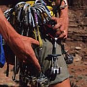 A Rock Climber Check Her Gear Art Print by Bill Hatcher