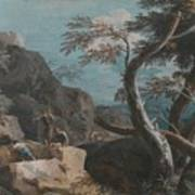 A Rocky Wooded Landscape With Three Peasants Art Print