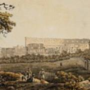 A Roman Landscape With The Colosseum And Figural Staffage Art Print