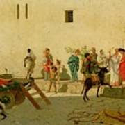 A Roman Street Scene With Musicians And A Performing Monkey Art Print