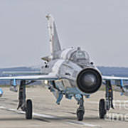 A Romanian Air Force Mig-21c Taxiing Art Print