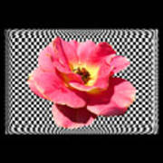 A Rose With A Checkered Background Art Print