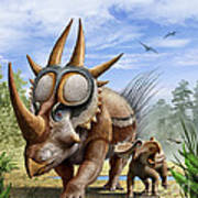 A Rubeosaurus And His Offspring Art Print