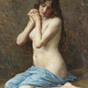 A Seated Nude With A Blue Drape Art Print
