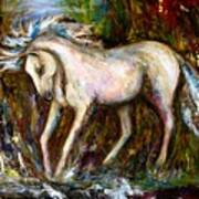 A Secret Place White Hores Painting Art Print