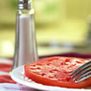 A Slice Of Beefsteak Tomato With Salt Art Print