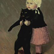 A Small Girl With A Cat Art Print