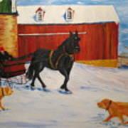 A Snowy Sleigh Ride Art Print