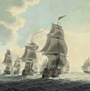 A Squadron Of The Royal Navy Running Down The Channel And An East Indiaman Preparing To Sail Art Print