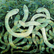 A Squirm Of Eels At The Bottom Of The Pond Art Print