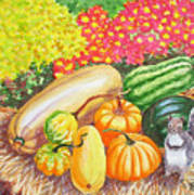 A Squirrel And Pumpkins.2007 Art Print