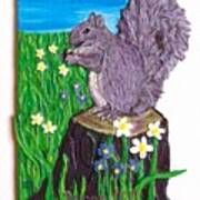 A Squirrel At His Snack Art Print