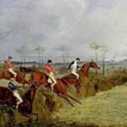 A Steeplechase - Taking A Hedge And Ditch Henry Thomas Alken Art Print