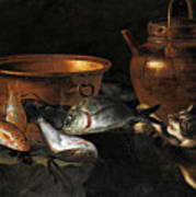 A Still Life Of Fish With Copper Pans And A Cat  Art Print