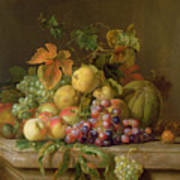 A Still Life Of Melons Grapes And Peaches On A Ledge Print by Jakob Bogdani