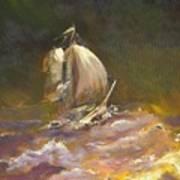 A Stormy Night At Sea Art Print