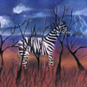 A Stormy Night For A Zebra  Art Print