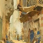A Street Scene In Cairo Art Print
