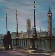An Evening Stroll Along The Thames  Art Print
