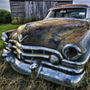 A Stylized Wide Angle Look At An Old Rusty Cadillac By A Cornfield Art Print