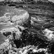 A Summer's Day At Nubble Light, York, Maine  -67969-bw Art Print