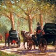 A Surrey Ride In Central Park Art Print