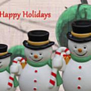 A Three Snowman Holiday Art Print