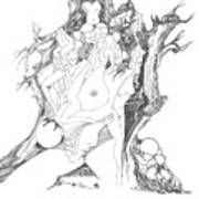A Tree Human Forms And Some Rocks Art Print