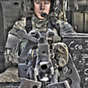 A Uh-60 Black Hawk Door Gunner Manning Print by Terry Moore