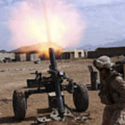 A U.s. Marine Corps Gunner Fires Print by Stocktrek Images