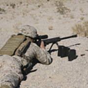 A U.s. Marine Zeros His M107 Sniper Art Print by Stocktrek Images