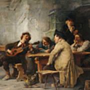 A Vagrant Ministrel In A Tavern Art Print