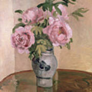 A Vase Of Peonies Print by Camille Pissarro