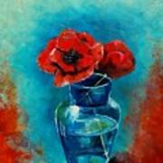 A Vase With Poppies  Art Print