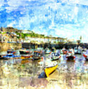 Porthleven - A View Across The Harbour Art Print