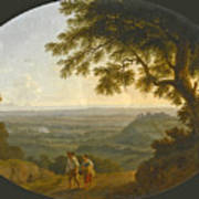 A View Across The Alban Hills With A Hilltop On The Right And The Sea In The Far Distance Art Print