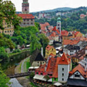 A View Of Cesky Krumlov And Castle In The Czech Republic Art Print