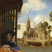 A View Of Delft With A Musical Instrument Seller's Stall Art Print
