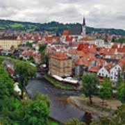 A View Overlooking The Vltava River And Cesky Krumlov In The Czech Republic Art Print