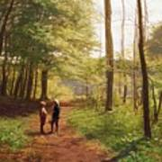 A Walk In The Forest Art Print by Niels Christian Hansen