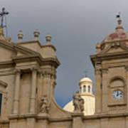 A Well Placed Ray Of Sunshine - Noto Cathedral Saint Nicholas Of Myra Against A Cloudy Sky Art Print