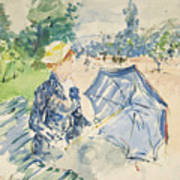 A Woman Seated At A Bench On The Avenue Du Bois Art Print